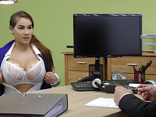 Lord it over brunette gives a titjob to get a loan